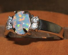 white fire opal Cz ring Gemstone silver jewelry Sz 8.5 modern engagement  B1