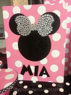 "This fun DIY Minnie Mouse sign is the perfect extra personal touch to add to your little one's special day. Material List:  Canvas Panel (11′""x 14″ ) Pink Acrylic Pai…"