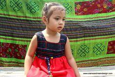 Little Girls Bohemian Style Dress With Hmong Appliqued Indigo by DekDoi, $46.00 #girls #dresses #ethnic #handmade #Hmong
