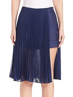 Akris Pleated Overlay Pant-Skirt - Aquamarine - Size