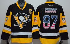 pittsburgh penguins jersey 87 sidney crosby black usa flag fashion jersey