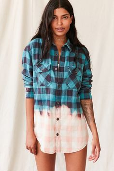 Urban Renewal Recycled Bleach Dipped Flannel Top