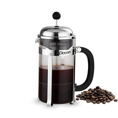 Decen French Press Coffee  Tea Maker with Stainless Steel Stand  Thermal Shock Resistant Glass  8 Cup  4 Mug in 34Oz >>> You can get additional details at the image link.Note:It is affiliate link to Amazon.