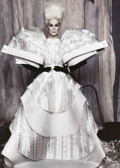 Carmen Dell'Orefice - dress, hair, gloves. High fashion at it's best.