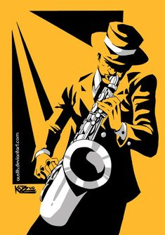 Jazz by Austh on DeviantArt Music Drawings, Music Artwork, Art Drawings, African Art Paintings, Jazz Poster, Jazz Art, Music Illustration, Art Sketches, Vector Art