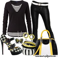 Black and White and Yellow featuring Christian Louboutin heels, created by hvershure on Polyvore