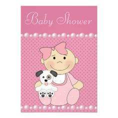 Cute Baby Girl and Puppy Pink Baby Shower Invitation