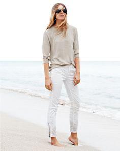 J.Crew women's linen high-low sweater and skinny zipper pant. cream, white