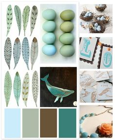 Our colour palette: shades of robin's egg blue, browns, and pale grey/cream with hints of teal and orange as accents.