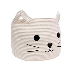 HiChen Large Woven Cotton Rope Storage Basket Laundry Basket Organizer for Towels Blanket Toys Clothes Gifts Pet Gift Basket for Cat Dog H -- More info could be found at the image url-affiliate link. Large Storage Baskets, Gift Baskets, Cotton Rope, Woven Cotton, Laundry Basket Organization, Laundry Organizer, Cute Cat Face, Cat Basket, Basket Weaving