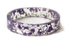 Purple Flower Resin Bracelet - resin bracelet with dried flowers. 2 5/8 inch inner diameter; 5/8 inch wide