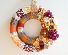 Fall double wrapped fabric, yarn and lace wreath by Wreaths By Emma Ruth