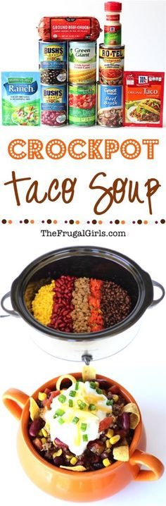 4 Points About Vintage And Standard Elizabethan Cooking Recipes! Easy Crockpot Taco Soup Recipe Give Your Taco Tuesday A Delicious Makeover With This Simple And Delicious Slow Cooker Soup Crock Pot Recipes, Sopa Crock Pot, Crock Pot Food, Crock Pot Tacos, Slow Cooker Recipes, Soup Recipes, Cooking Recipes, 5 Can Taco Soup Recipe, Side Dishes