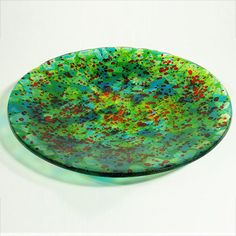 Round Fused Glass Plate by Brenda Griffith Fused Glass at BestAmericanArts.com