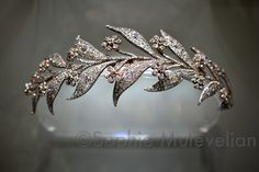 Jewellers Bentley  Skinner, own this 45-carat diamond piece dating from the 1820s. Now known as the Myrtle Tiara after its leaf motif, it was a gift from the Sassoon family to HRH Princess Louise, the Princess Royal, eldest daughter of King Edward VII, on her marriage to the 6th Earl Fife in 1889. Used as wedding tiara on Downton Abbey. Converts to 2 brooches - see off-the-frame board