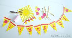 Summer Lemonade Stand Free Printable Signs. Print off these free Lemonade Stand bunting and sign printables for an easy Lemonade Stand!