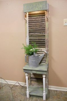 Old Window Shutters/Door turned into a perfect gardening side table. by lorraine Old Window Shutters/Door turned into a perfect gardening side table. by lorraine - Door Refurbished Furniture, Repurposed Furniture, Furniture Makeover, Painted Furniture, Diy Furniture, Shutter Shelf, Shutter Decor, Shutter Door Ideas, Window Shutter Crafts