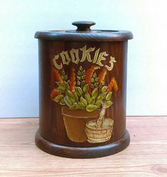 Vintage Wood Cookie Jar with Basil Plant and by StuffWeLoved