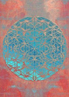 Mandala Digital Art - Flower Of Life Aqua Orange by Filippo B Sacred Geometry Symbols, Mandala Art, Flower Mandala, Visionary Art, Sacred Art, Flower Of Life, Fractal Art, Painting Inspiration, Wall Art