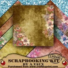 I have designed these 8 papers for all your scrapbooking needs. 8 glorious papers that can be mixed or matched together or used with any of your own embellishments. Sized at 12 x 12inches in a jpeg format. Ideal to use tone on tone or for your vintage scrapbook pages or for your card making.