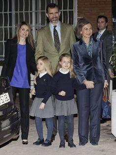 MYROYALS  FASHİON: CP Letizia, CP Felipe, and Queen Sofia with Infantas Sofia and Leonor visiting King Juan Carlos at La Milagrosa Hospital, Madrid