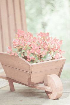 shabby inspiration - flowers in pink wood wheelbarrow
