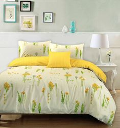 Summer Breeze duvet cover set is crafted from 100% cotton 68 pick/ T144 pre-shrunk fabric for a soft and smooth finish and natural comfort. The duvet cover and the pillow cases feature a beautiful floral pattern with bright yellow wild summer flowers, green stems and leaves printed on the face with a starry bright yellow reverse side. | eBay!