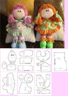 Discover thousands of images about doll pattern . by cathy Fabric Doll Pattern, Doll Sewing Patterns, Sewing Dolls, Fabric Dolls, Paper Dolls, Felt Crafts Patterns, Doll Crafts, Diy Doll, Doll Toys