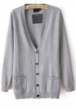 Grey Star Embroidery Pockets Single Breasted Blend Cardigan