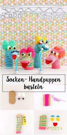 Die singenden Socken-Freaks – Wundertütchen - New Ideas Fun Crafts For Kids, Craft Activities For Kids, Easy Diy Crafts, Diy For Kids, Summer Crafts, Sock Puppets, Hand Puppets, Sock Crafts, Sewing Crafts