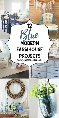 A Dozen Blue Fixer Upper Style Projects for the home. fixer upper | modern farmhouse | decor | mason jars | furniture