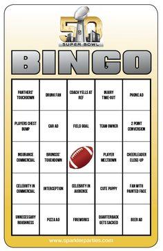Free Superbowl Bingo game printable. Download this free game and more ...