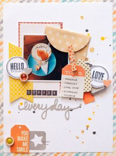 #papercraft #scrapbook #layout. Coffee Everyday by geekgalz at @studio_calico