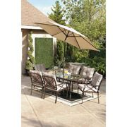 Relax and appreciate the beautiful sunny weather in the comfort of the Redford 7-Piece Dining Set. The sturdy steel construction with powder-coated finish ensures a fresh appearance. Chairs come with UV protected cushions for added comfort. The tempered glass table top with umbrella hole makes it easy to clean and maintain.  http://www.vmarketingsite.com/blog/post/3553246