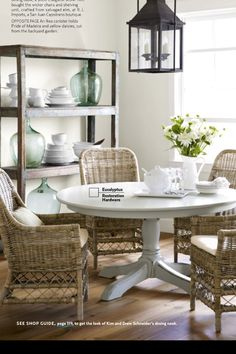 wicker chairs and white table for nook