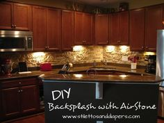 Backsplash done with Airstone from Lowes - easy way to make a faux stone wall with just simple tools