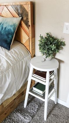 Narrow side table made from barstool could be used in a small bedroom as a narrow nightstand or in the living room as a side table by the couch! I love this creative repurposed bar stool idea with farmhouse style! Treatment Projects Care Design home decor Attic Bedroom Decor, Bedroom Small, Design Bedroom, Small Rooms, Master Bedroom, Bedroom Furniture, Bedroom Night, Gold Bedroom, Upcycled Bedroom Decor