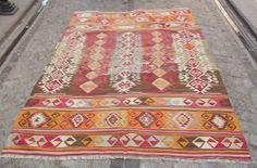 "Vintage Turkish Kilim Rug, Orange Light Brown Pale Blue Kilim Rug, Handwoven Wool Kilim Rug 92"" x 66 inch, Rustic Home Dec or  FREE SHIPPING..."