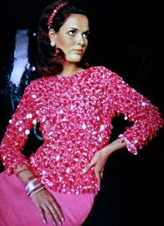 Pink top by Alice Levon, Marie Claire (France) December 1965