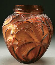 "c.1913 | Rene Lalique | ""Sauterelles"" (Grasshoppers) Vase 