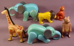 Fisher Price Vintage Lot Of 6 Little People Zoo or Circus Animals