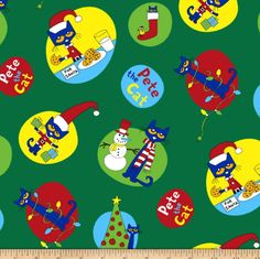Pete The Cat Christmas Allover Green Christmas Scrub Tops, Pete The Cats, Christmas Cats, Fun Prints, Fabric Design, Printing On Fabric, Cat Lovers, Vibrant Colors, Snowman