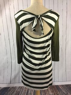 Olive Green and White Stripe Baseball teel with adorable knotted back design from Laney Lu's Boutique www.laneylus.com