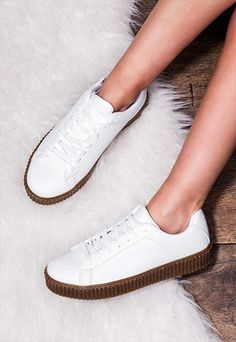 STEVE MADDEN'S, NOTRIHANNA'S - GRINDER+Lace+Up+Flat+Creeper+Shoes+-+White+Leather+Style