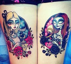 Alice in Wonderland & Sally from Nightmare before Christmas ❤️ My tattoos - Sour and Sweet tattoo ❤️ Back thighs Bff Tattoos, Cartoon Tattoos, Sweet Tattoos, Makeup Tattoos, Disney Tattoos, Future Tattoos, Body Art Tattoos, Tatoos, Fandom Tattoos