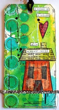 collaged and dylusions, stencil and texture layered tag