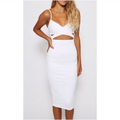 LAST ONE Cut Out White Midi Bodycon Dress S Super chic little white dress with sexy cut outs in front. Brand new, never worn! Back zipper and adjustable straps. Size small. Boutique Dresses Midi