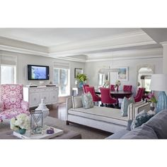 living rooms - Benjamin Moore - Classic Gray - living room dining room sofa daybed wing chairs rug slipper chairs media cabinet pillows lamps found on Polyvore