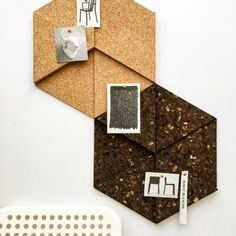 Modular Cork Equilateral Triangle Tiles, Dark - Set of 3 / Noticeboard / Bulletin Board / Message Board / Home Office / Organization