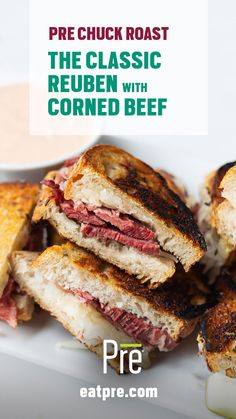 This classic reuben sandwich is made with our recipe for corned beef made with Pre Chuck Roast. Cut these sandwiches in half for a St. Paddy's Day feast.